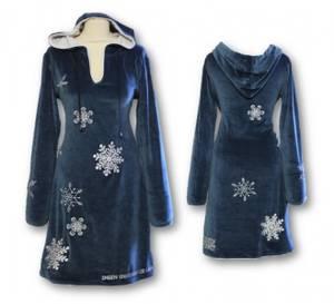Bilde av Snøfnugg kjole, Blå med hette