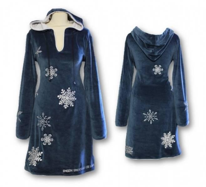 Snøfnugg kjole, Blå med hette